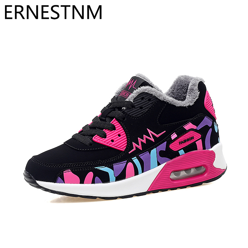 ERNESTNM Womens Shoes Winter Trainers Platform Red Sneakers Wedges Plush Ladies Casual Shoes Zapatillas Chunky Mujer Plataforma
