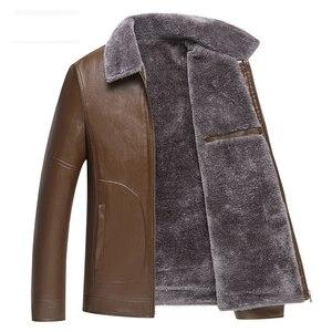 Image 4 - Fgkks jaquetas de couro do plutônio dos homens inverno nova gola de pele jaqueta de couro masculino negócios casuais casacos de couro roupas da marca