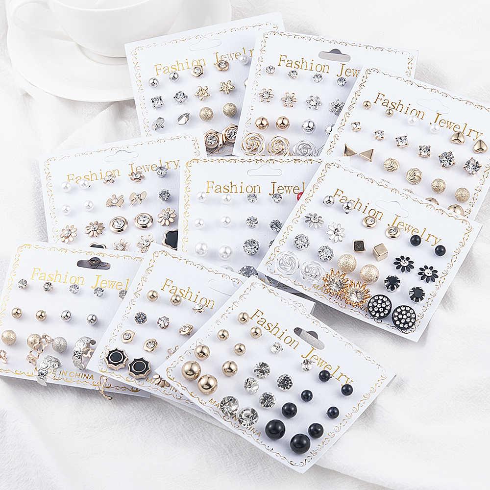 12 זוגות\סט נשים של פרל פרח קריסטל לערבב עיצוב הרבעה עגילי בנות אלגנטי זהב לב אוזן תכשיטי מתנה Aretes דה
