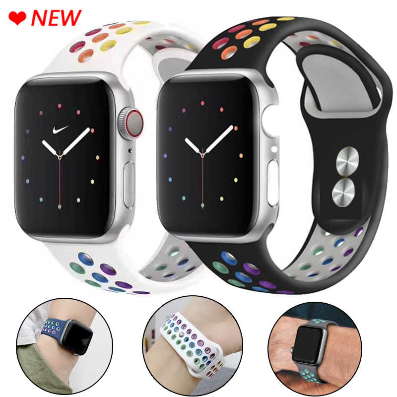 Strap Voor Apple Horloge Band 5 4 3 2 1 Band 38Mm 40Mm Siliconen Armband 42Mm 44mm Band Rubber Iwatch Serie 4 3 2 Band Polsband