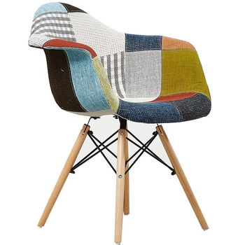 Nordic Creative Fabric Plastic Solid Wood Dining Chair Leisure Armchair Coffee Bar Chair Home Log Study Computer Chair Backrest