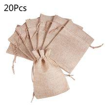 20pcs Mini Linen Drawstring Pouch Stuff Storage Bag Laundry Clothes Wedding Party Gift