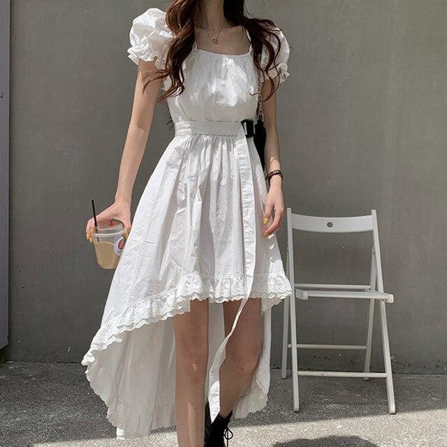 Elegant Casual  Summer Dress   Vintage Puff Sleeve Irregular Lace  2