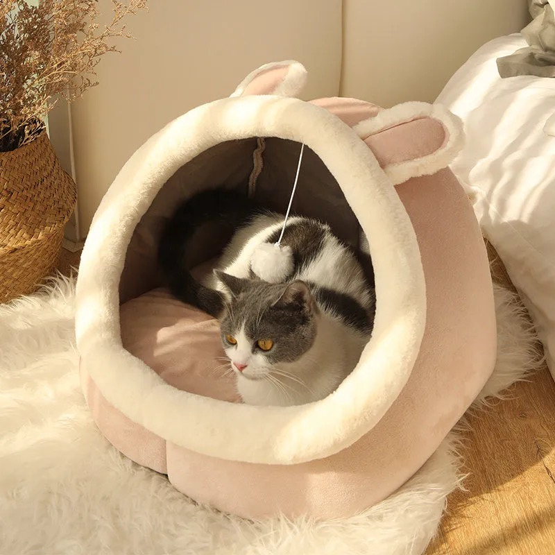 Sweet Cat Bed Warm Pet Basket Cozy Kitten Lounger Cushion Cat House Tent Very Soft Small Dog Mat Bag For Washable Cave Cats Beds 4
