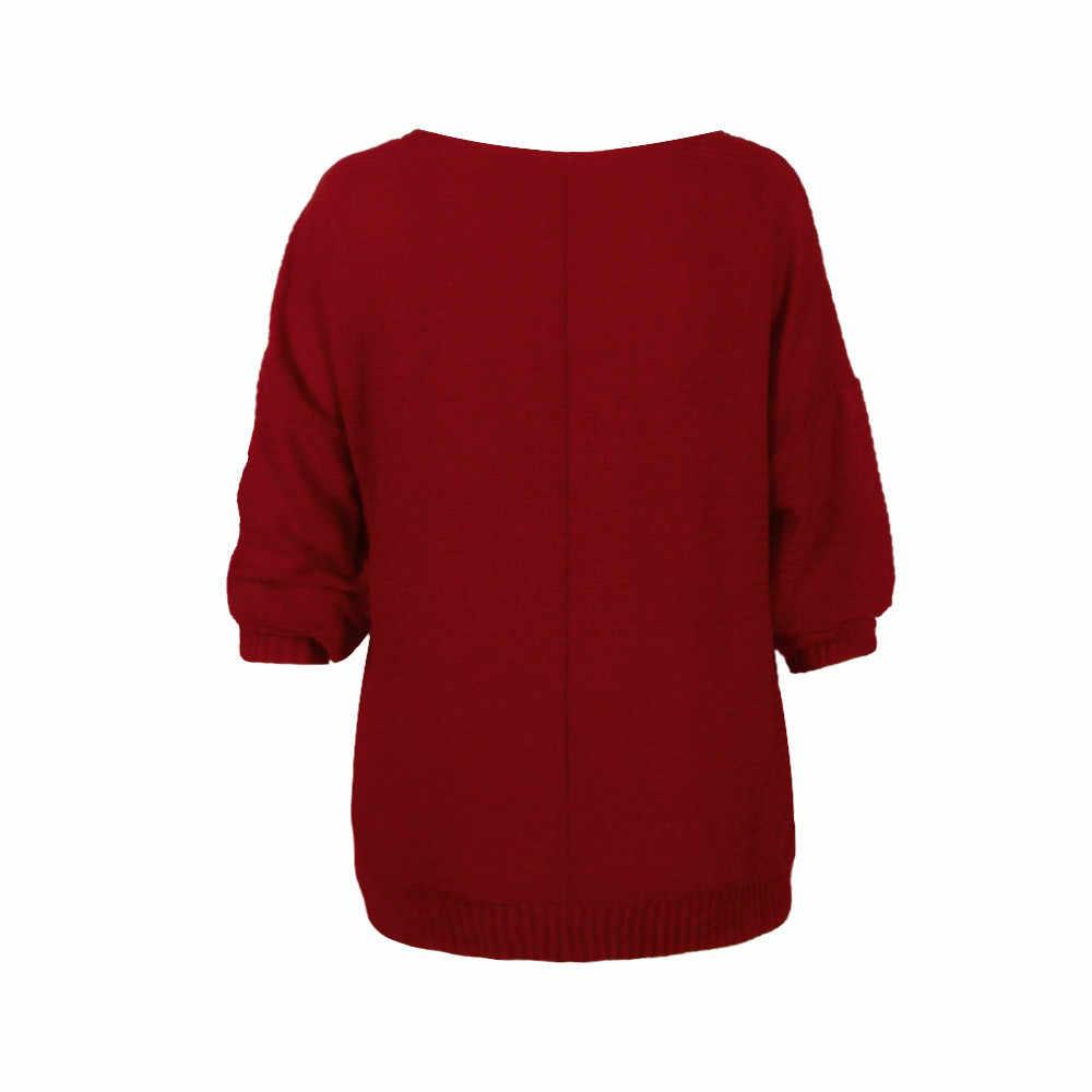 เสื้อกันหนาวผู้หญิงใหม่ Batwing Sleeve เซ็กซี่รอบคอสีทึบฤดูใบไม้ร่วงแฟชั่นฤดูหนาวสบายๆสบายๆจัมเปอร์ # S