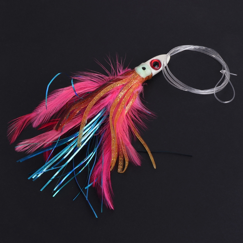Fishing Bait With Lead Head Line Feather Lure Octopus Trolling Skirt Accessories Y98F