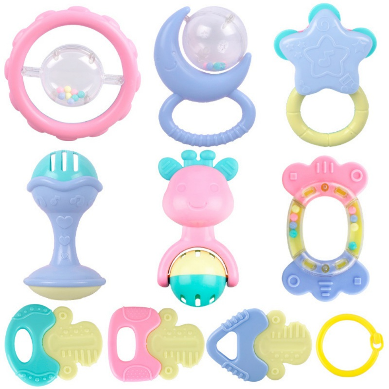 10pcs Baby Rattles Set Hand Hold Jingle Shaking Bell Ring Baby Rattles Toys Newborn Baby 0- 12 Months Teether Toys3