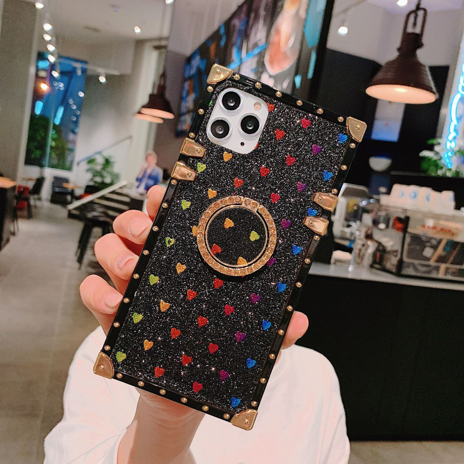 YXAYN 3D fashion luxury mobile shell Square Glitter For iPhone 7 8 Plus X XR XS 11 11
