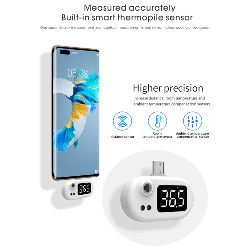 USB Smart Digital Infrared Thermometer Pyrometer Imager Hygrometer IR Temperature  LCD  Measurement Forehead For Android