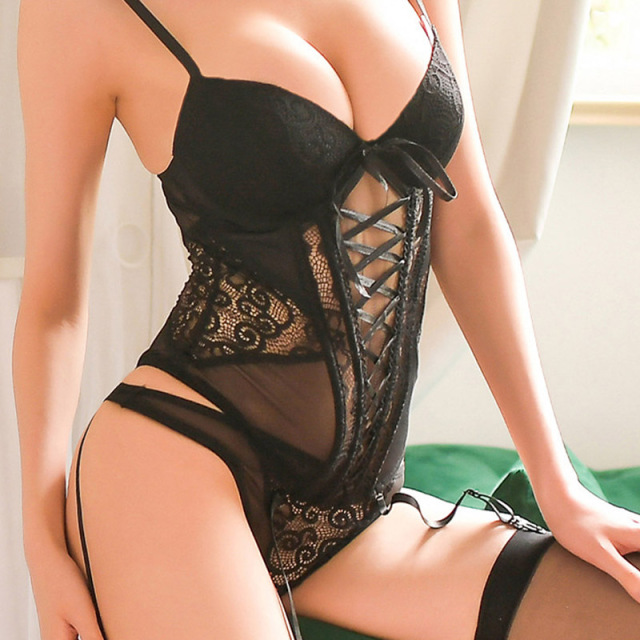 Women's sexy underwear Elasticity Corset Lace up Back Sexy Body Bustier Overbust With Straps Belt Breathable Fabric Lingerie 1