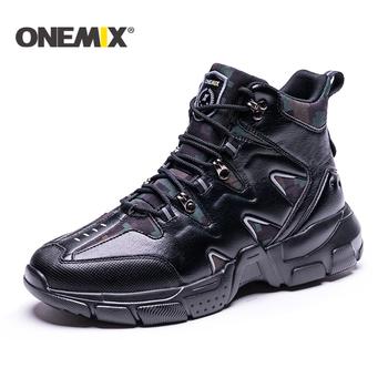ONEMIX 2020 nowe buty górskie śnieg buty mężczyźni Camping buty taktyczne buty do wspinaczki mężczyźni buty motocyklowe męskie buty wojskowe mężczyźni tanie i dobre opinie RUBBER Lace-up Prawdziwej skóry Pasuje prawda na wymiar weź swój normalny rozmiar Spring2019 Cotton Fabric Profesjonalne