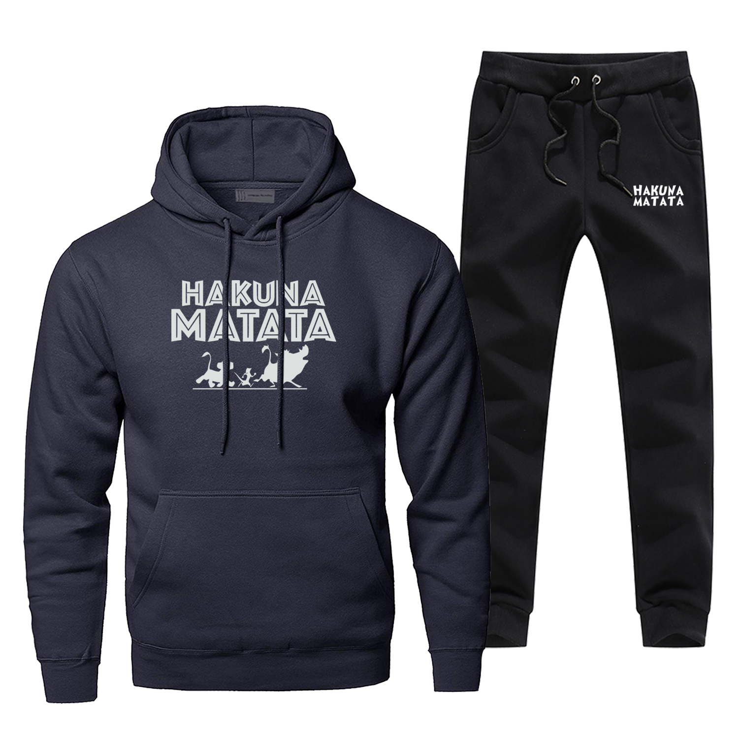 Fashion Lion King Hakuna Matata Sweatshirt Hoodies Pants Sets Men Casual Sportswear Mens Winter Harajuku Streetwear Sportswear