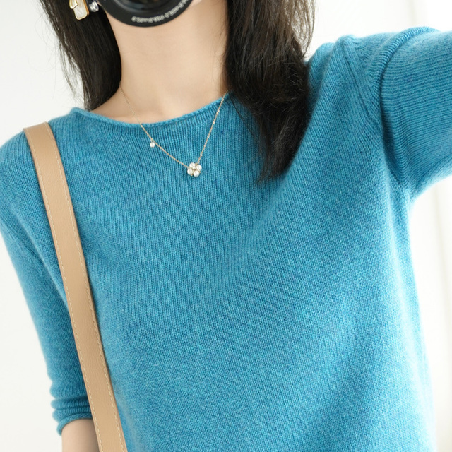 women's sweater short sleeves solid curling o-neck knitted top short stylish casual pullover jumper elastic jacket sweater 4