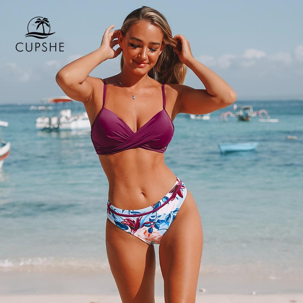CUPSHE Push Up Floral Wrap Bikini Sets Women Sexy Thong Two Pieces Swimsuits 2020 Girl Beach Bathing Suits Swimwear|Bikini Set| |  - AliExpress