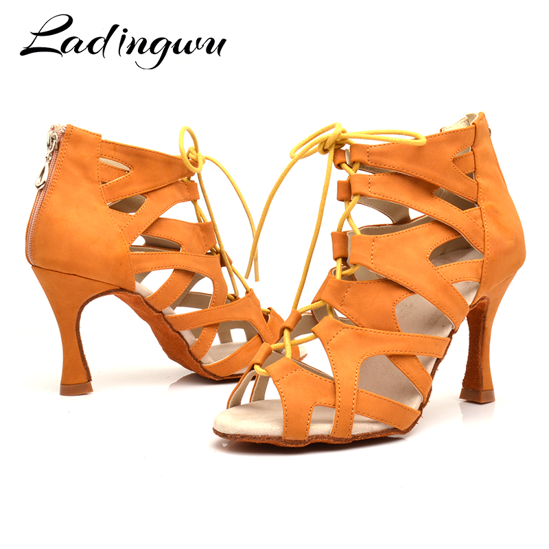 Ladingwu Zapatos De Baile Professiona  Lady Dancing Shoes Salsa Latin Ballroom Dance Shoes For Women Brown Black Dance Coots