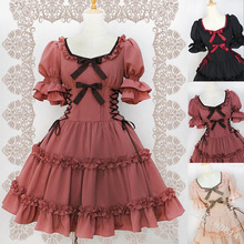 Gothic palace sweet princess lolita dress square sleeve puff sleeve high waist victorian dress kawaii girl gothic lolita op cos princess sweet lolita gothic lolita shoes lolita cos punk wedges increased women s shoes deep red 9101