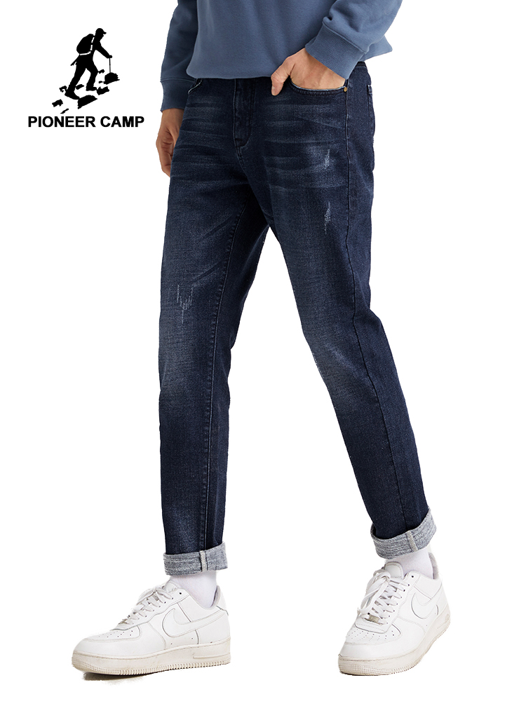 Pioneer Camp Think Men Jeans Winter Causal Straight Blue Solid Color Warm Comfortable Jeans Menswear ANZ901543T