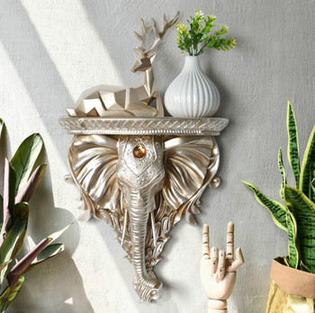 Home Decorative European Resin Elephant Head Wall Mural Wall Hanging Shelf Rack Vase Ledge European Holder Board TV Livingroom