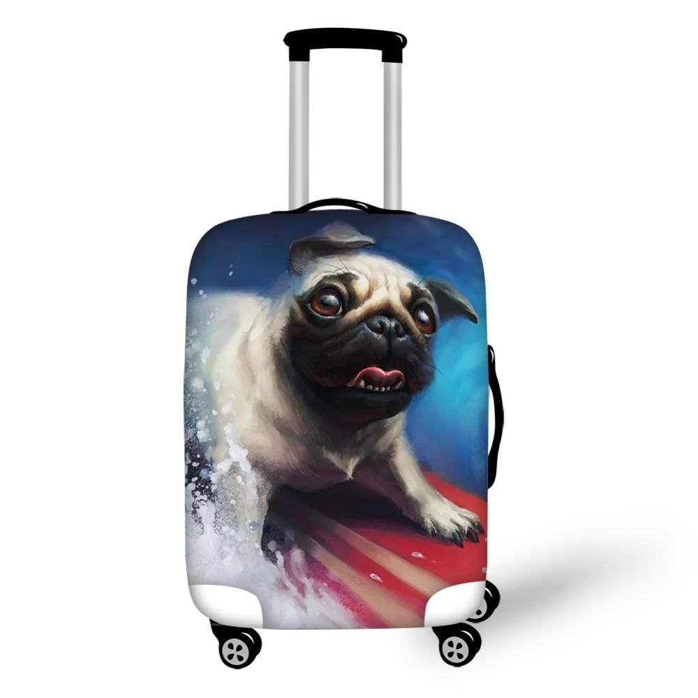HaoYun Cute Suitcase Protective Cover Elastic Dust-proof Cover Waterproof Little Bulldogs Paint Travel Luggage Accessories