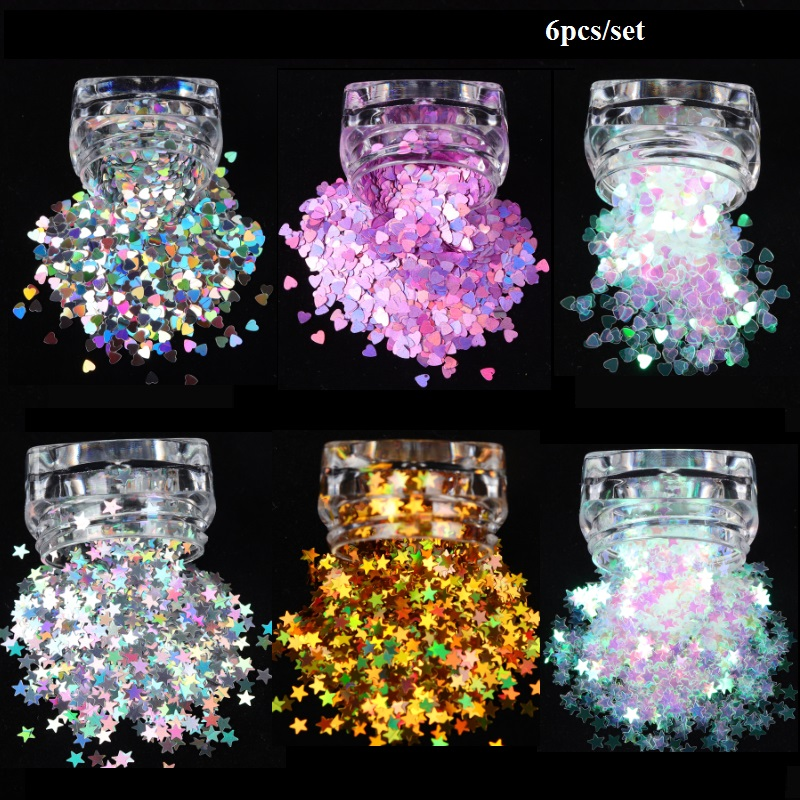 6pcs/set Holo Sweet Love Heart Stars Nail Sequins Silver Gold Shinning Glitter Paillette Flakes Gel Manicure Art Decorations
