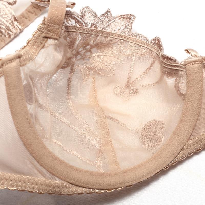 Image 3 - カップ透明ブラセットランジェリー女性刺繍メッシュブラジャーブラフリルストラップ裏地なし下着セクシーな彼女のためのギフトブラジャー & ブリーフセット   -