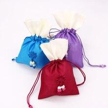 Satin Gift Bag 10x15cm 2pcs Packaging Jewelry Pouch Cosmetic Party Bead Candy Silk Drawstring Bag Print Logo Cloth Sachet Pocket