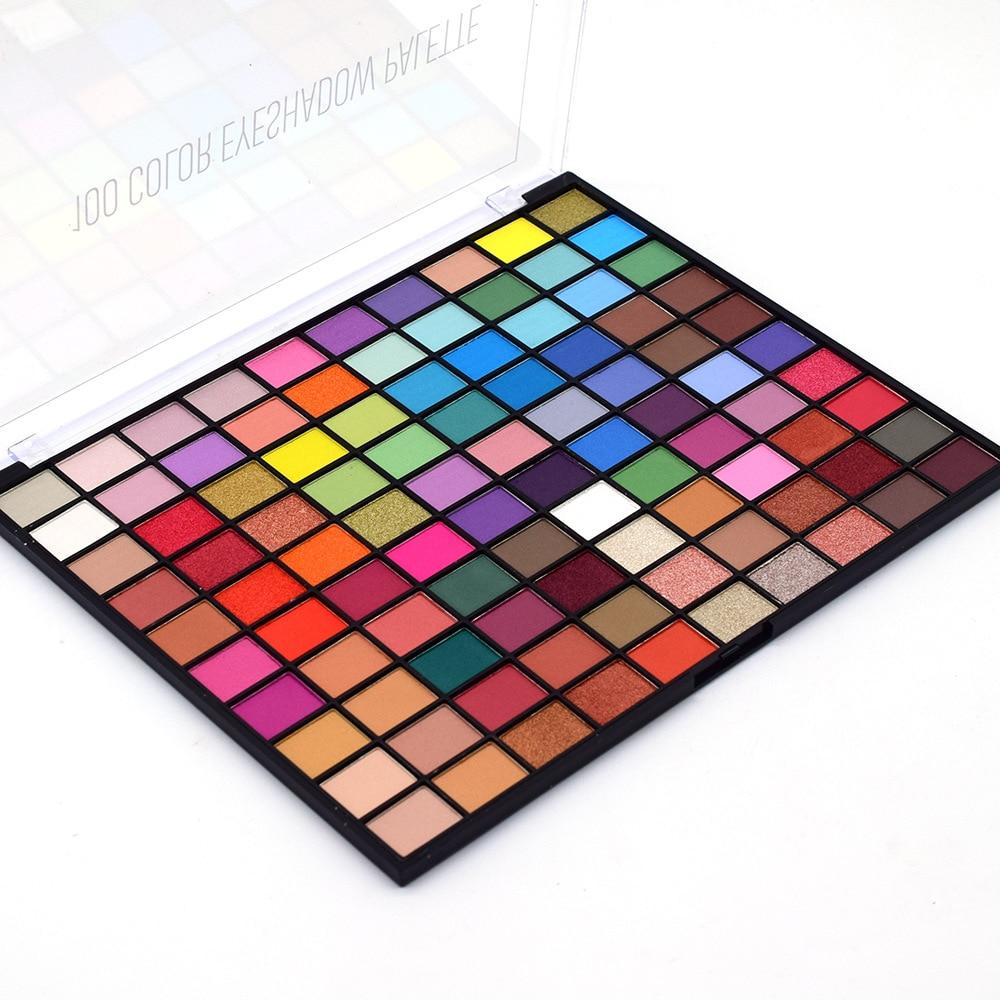 100 Colors Glitter Shimmer Matte Big Eyeshadow Palette Metallic Pigmented Powder Eye Shadow Makeup Waterproof Blendable Cosmetic