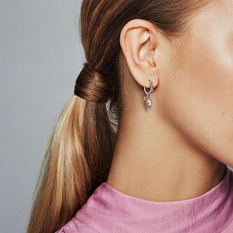 2020 Summer New 925 Sterling Silver Ocean Series Heart & Conch Shell Hoop Earrings For Women Earings Original Fashion Jewelry