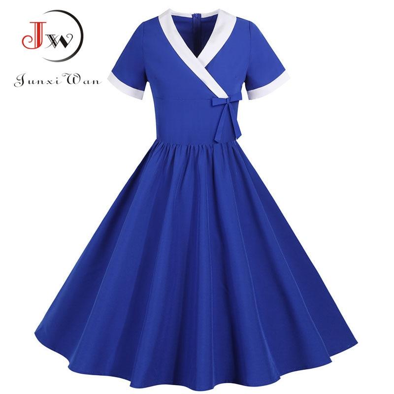 Yellow Bow V Neck Elegant Office Party Dress Women Summer Vintage High Waist Swing A-line Midi Sundress Plus Size Robe Femme 4