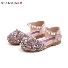 Children Kids Girls Shoes Pearl Bling Mary Janes Flats Princ