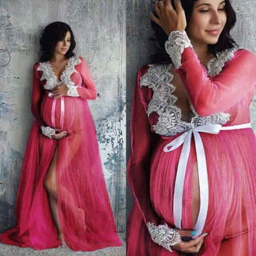 Vestido Maxi de maternidad de encaje para mujeres embarazadas