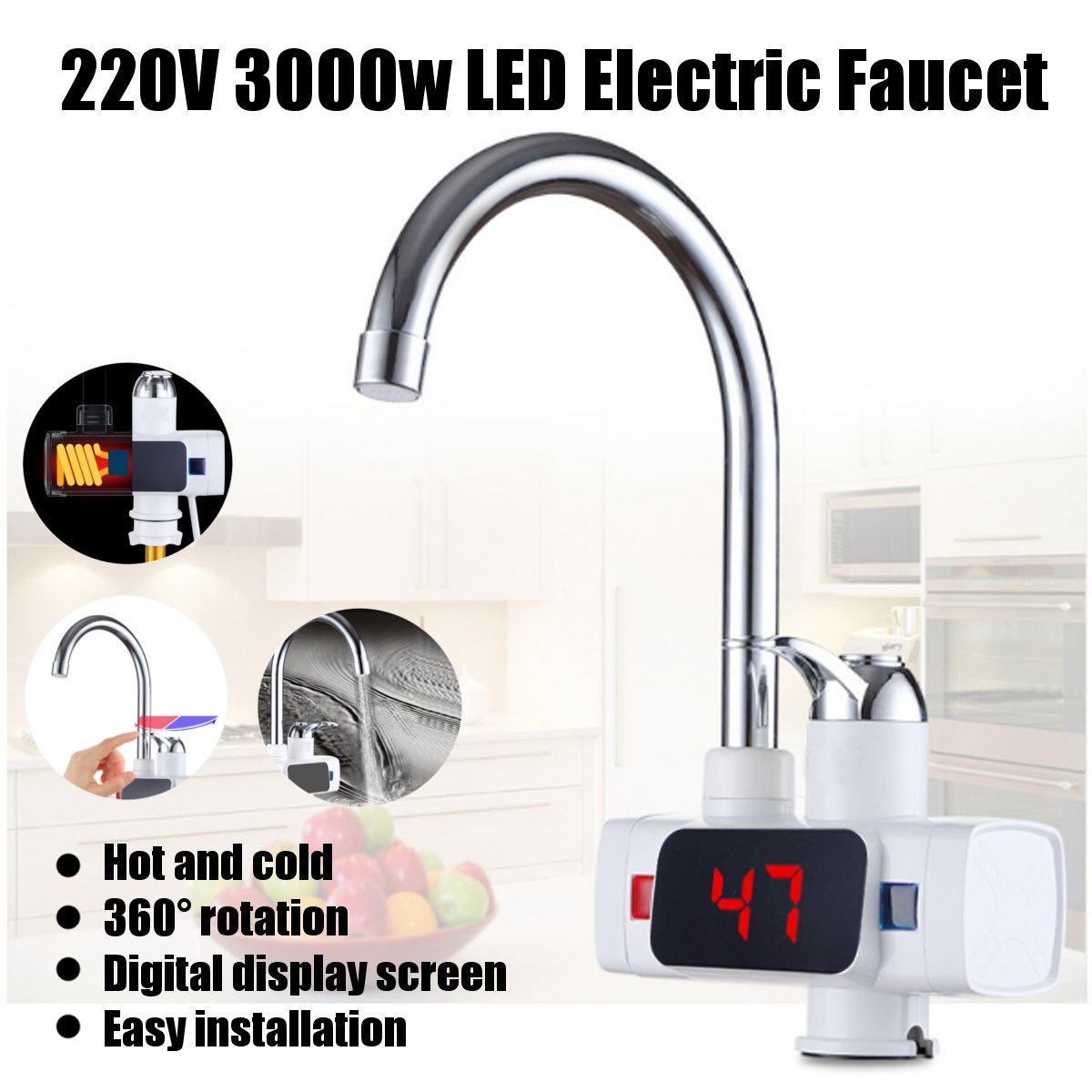 3000W 360 Electric Water Heaters Temperature Display Instant Hot Water Tap Electric Faucet Instant Hot Faucet Water Heating