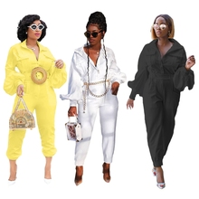 Safari Style Flare Sleeve Rompers Womens Jumpsuit Loose Palazzo Pants Bib Overalls Casual Streetwear Hip Hop Solid Color Sexy