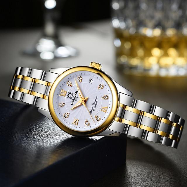 Reloj Mujer CARNIVAL Brand Luxury Women Mechanical Watch Ladies Fashion Waterproof Crystal Sapphire Automatic Wristwatches Clock 4