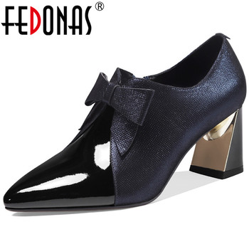 FEDONAS Vintage Women Cow Sheepskin Leather Pumps Butterfly Knot Pumps Party Night Club New Spring Side Zipper 2020 Shoes Woman
