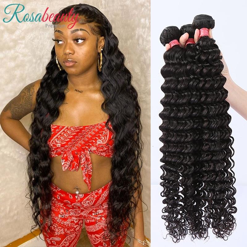 Rosabeauty 20 28 30 pulgadas mechones de ondas profundas 100% extensión de cabello humano 1 3 4 mechones de pelo indio suelto ondulado rizado mechones