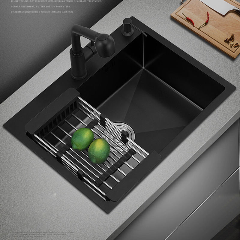 Black Single Kitchen Sink Above Counter Or Udermount Vegetable Washing Basin Sink Kitchen Black 304 Stainless Steel Bar Counter