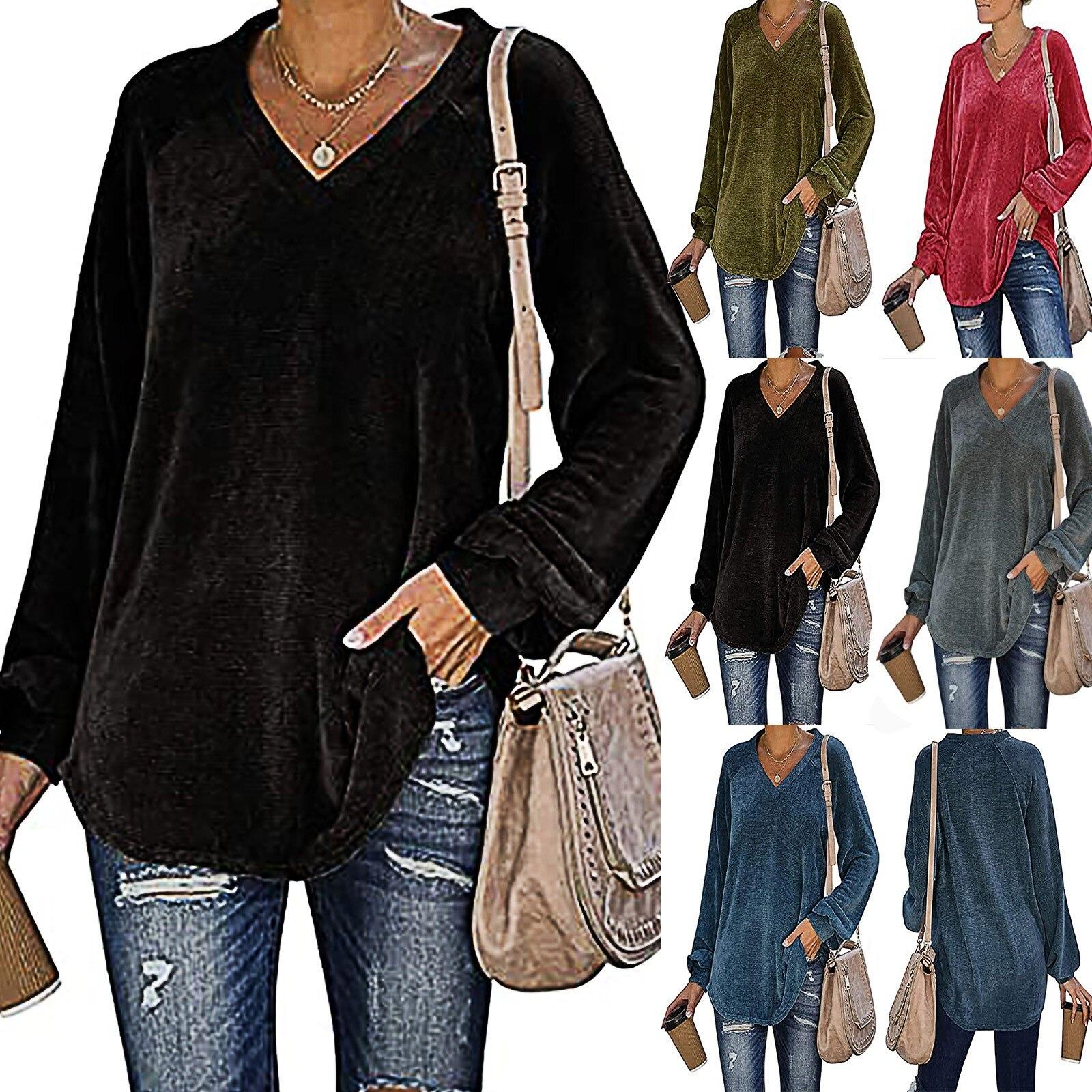 Женские повседневные Толстовки с длинным рукавом и v-образным вырезом, цветные футболки, свитшоты, туника, топы, толстовка, женская уличная одежда