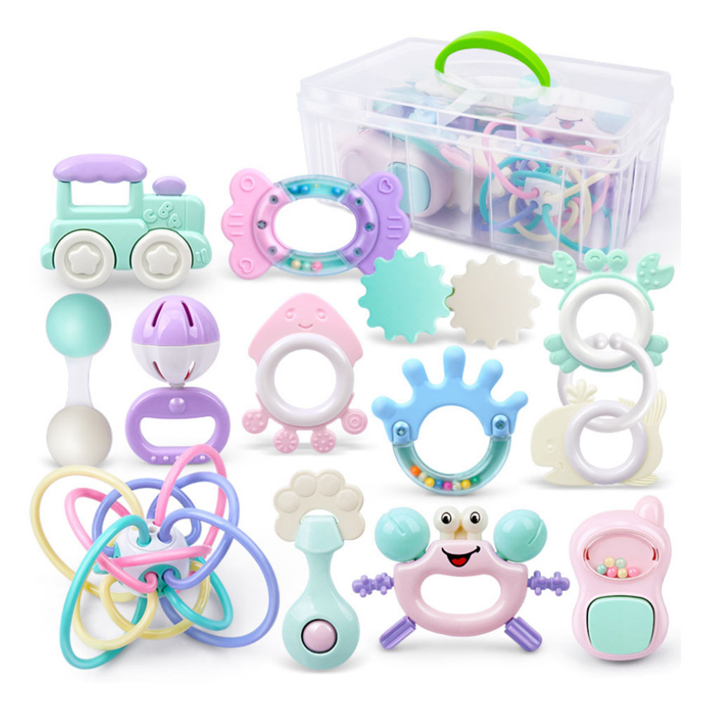 8/9/12/13pcs Baby Rattles Toys 0-12 Months Teether Music Hand Shake Bed Bell Educational Toy Plastic Animal Rattles For Boy Girl
