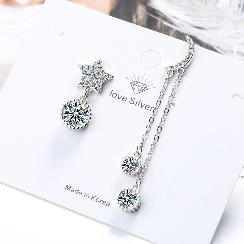 Star Moon Silver Color Long Earring Luxury Crystal Chain Earrings For Women Asymmetric Design Jewelry New 2020