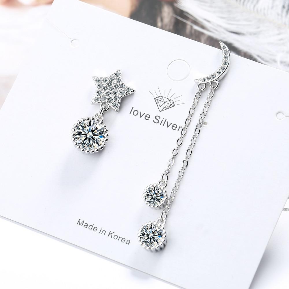 Star Moon Silver Color Long Earring Luxury Crystal Chain Earrings For Women Asymmetric Design Jewelry New 2020