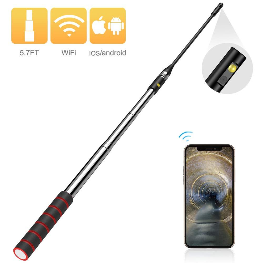 WiFi Endoscope with Side Cam Wireless Telescopic Digital Borescope Snake Inspection Tube Camera, iOS & Android Smartphone Tablet image