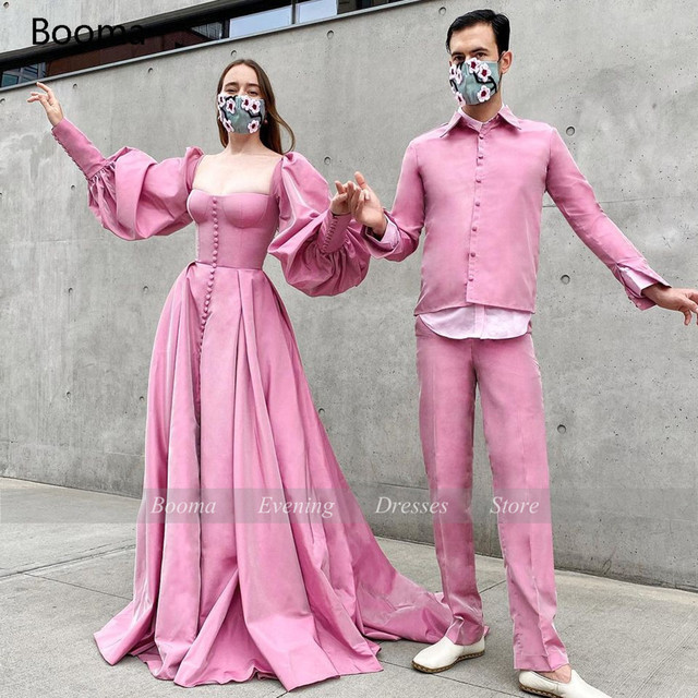 Booma Elegant Pink Prom Dresses Bishop Sleeves High Slit Taffeta Evening Dresses Sweetheart A-line Long Party Gowns with Buttons 4