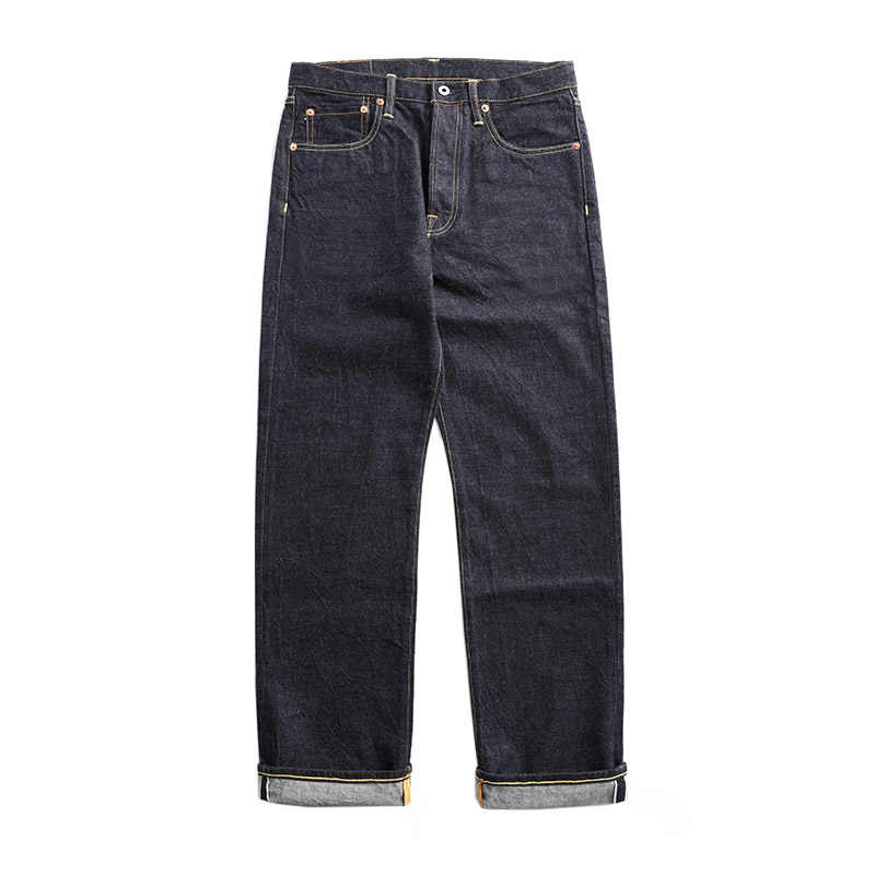 47501-0002 size 28-42 vintage 14 oz raw indigo selvage stylish trousers mens casual raw denim jean pants