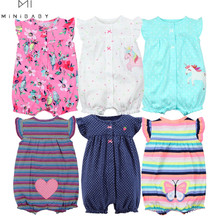 Orangemom summer baby girl clothes one-piece jumpsuits baby clothing cotton short romper infant girl clothes roupas menina home cheap Print O-Neck Covered Button Rompers Baby Girls Fits true to size take your normal size