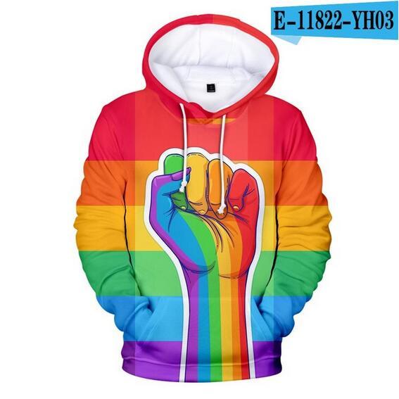 Colorful Rainbow LGBT Hoodies Sweatshirt Men Women For Lesbian Gay Pride LGBT Hoodie Fashion Casual Pullover Hooded Sweatshirts 21