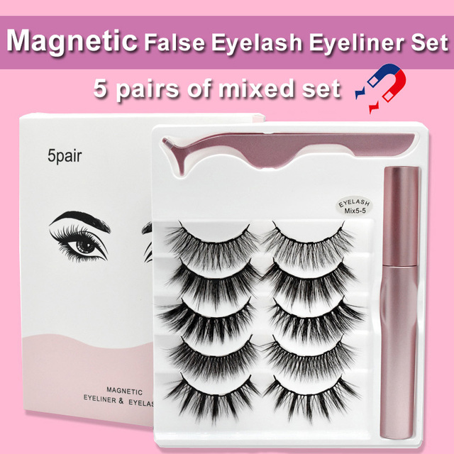 Magnetic False Eyelashes Eyeliner Set Natural Thick Handmade No Glue Prevent Allergy Magnetic Eyelashes With Eyelash Applicator
