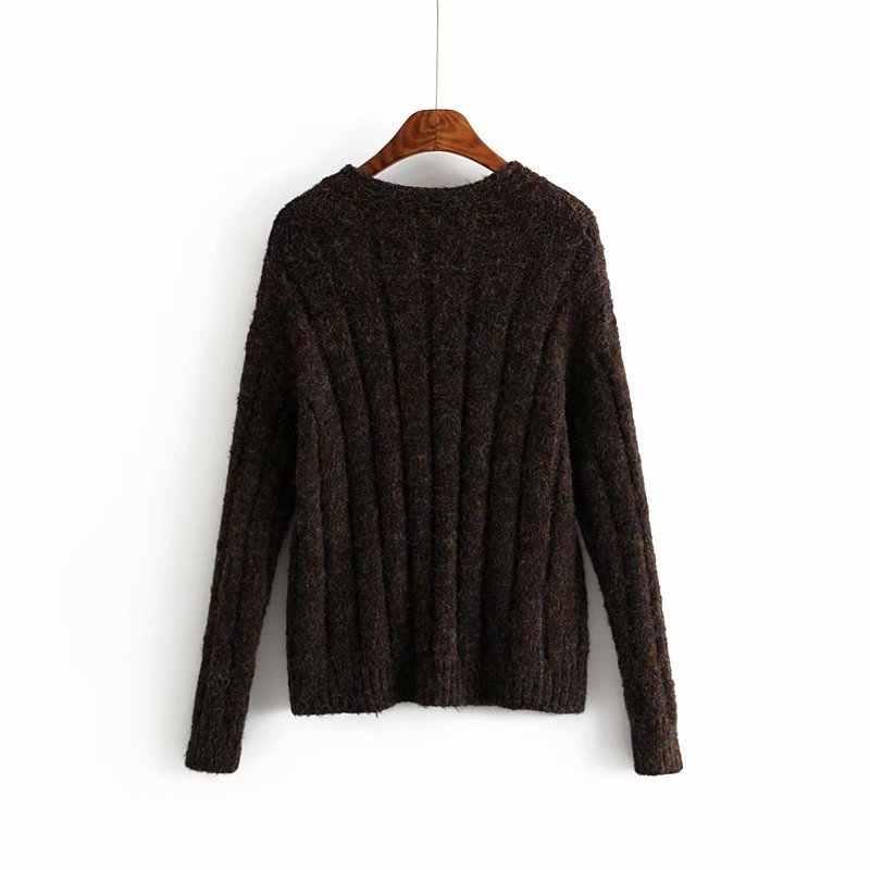New arrival Ah Hui 45-1269 European and American Fashion Triple Button Loose cardigan sweater