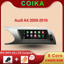 """8 Core 8.8 """"Auto Head Unit Voor Audi A4 B8 2009 2016 Android 9.0 Systeem Wifi Google Ips touch Stereo Bt Carplay 4G Lte 4 + 64G Gps"""