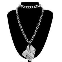 Hyperbole Big Geometric Pendant Choker Necklace Fashion Personalized 2 Layered Long Cuban Link Chain Women Jewelry Female